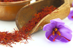 Saffron flowers. Dried saffron spice and Saffron flower Stock Photos