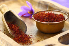 Saffron flowers. Dried saffron spice and Saffron flower Stock Photography