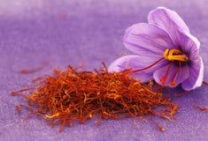 Saffron flowers. Dried saffron spice and Saffron flower Royalty Free Stock Images