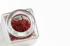 Saffron in Jar Royalty Free Stock Photos