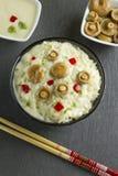 Saffron Milk Cap mushroom rice with white wine sauce Stock Images