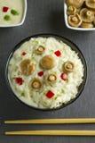 Saffron Milk Cap mushroom rice with white wine sauce Stock Photos