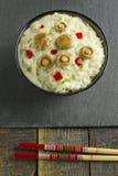Saffron Milk Cap mushroom rice with white wine sauce Stock Photo