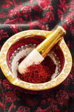 Saffron in a Mortar Royalty Free Stock Photo