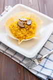 Saffron and mushroom risotto Stock Photos