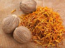Saffron and Nutmeg Stock Photography