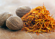 Saffron and Nutmeg side view Stock Photography