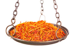 Saffron in old balance scale Stock Photography