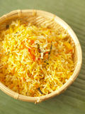 Saffron rice. Close up of a basket of saffron rice Royalty Free Stock Photography