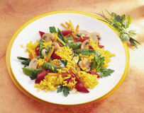 Saffron rice. With vegetables and mushrooms Royalty Free Stock Image