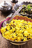 Saffron Rice with Barberries. As closeup in a traditional persian bowl Royalty Free Stock Photography