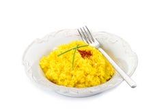 Saffron rice on dish Stock Photo