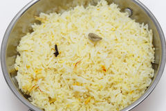 Saffron rice in a kadai bowl from above Royalty Free Stock Photos