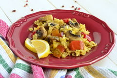 Saffron rice with mushrooms Royalty Free Stock Photography