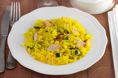 Saffron rice with pork Stock Image