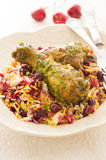 Saffron Rice with Sour Cherries and Chicken Stock Photo
