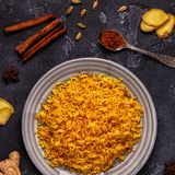 Saffron rice with spices. Top view, copy space Royalty Free Stock Image