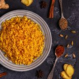 Saffron rice with spices. Top view, copy space Stock Photo