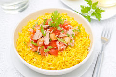 Saffron rice with tuna, tomatoes, peppers and herbs in bowl Royalty Free Stock Photos