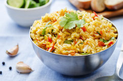 Saffron rice with vegetables and cilantro Royalty Free Stock Photography