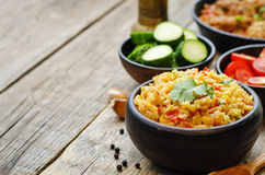 Saffron rice with vegetables and cilantro Royalty Free Stock Photos