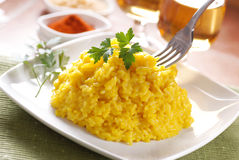 Saffron risotto on the plate Royalty Free Stock Image