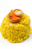Saffron risotto with  scallops Stock Photography