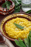 Saffron and sage risotto Stock Photo
