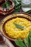 Saffron and sage risotto Stock Photo