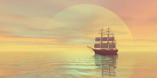 Saffron Skies. A clipper ship sails on golden seas Stock Photos