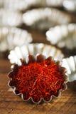 Saffron space threads in vintage silver bowl Stock Photos