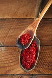 Saffron space threads  in vintage wood spoons Royalty Free Stock Photo