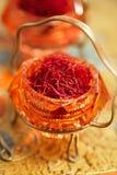 Saffron spice in antique vintage glass bowl Stock Images