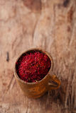 Saffron spice in antique wooden mug on old wood background Royalty Free Stock Images