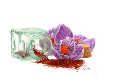 Saffron - spice and flowers. On white background Stock Photo