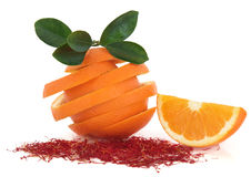 Saffron Spice and Orange Fruit Stock Image
