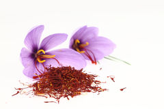 Saffron spice and Saffron flowers. Dried saffron spice and Saffron flowers on white background Royalty Free Stock Photos
