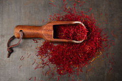 Saffron spice threads in vintage  old scoop Stock Image