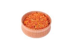 Saffron spice in wooden bowl Stock Images