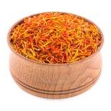 Saffron spice in a wooden bowl Royalty Free Stock Photos