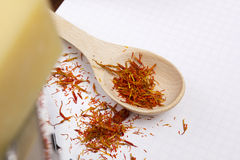 Saffron in spoon Royalty Free Stock Image