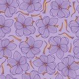 Saffron Threads and Crocus Flowers Seamless Pattern on PurpleBackground vector illustration