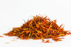 Saffron. In a white bowl on a white background Stock Images