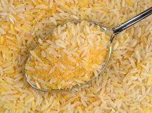 Saffron yellow rice on a spoon Royalty Free Stock Images