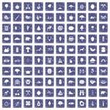 100 safir för grunge för campa och natursymboler fastställda Royaltyfri Bild