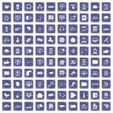 safir för grunge för 100 kommunikationssymboler fastställd Royaltyfri Fotografi
