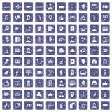 safir för grunge för 100 sammanhållningsymboler fastställd Royaltyfria Bilder