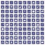safir för grunge för 100 ungeaktivitetssymboler fastställd royaltyfri illustrationer