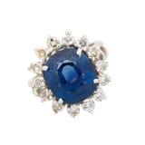 Safira e anel de diamante Imagens de Stock Royalty Free
