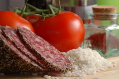 Safran, tomate et riz Photographie stock libre de droits